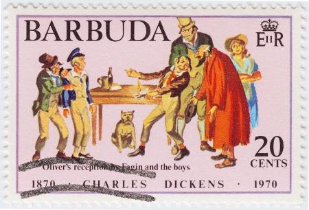dickens: BARBUDA - CIRCA 1970 : stamp printed in Barbuda honored Great Britan writer Charles Dickens, circa 1970