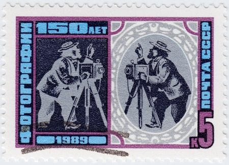 honored: USSR - CIRCA 1989 : stamp printed in the USSR honored 150 anniversary of photography, circa 1989 Stock Photo