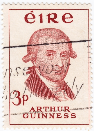 founder: IRELAND - CIRCA 1975 : stamp printed in Ireland shows Arthur Guinness - Irish brewer and the founder of the Guinness  brewery , circa 1975  Editorial