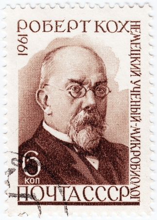 RUSSIA - CIRCA 1961 : stamp printed in RUSSIA shows Heinrich Herman Robert Koch - German physician, circa 1961 Stock Photo - 16362528