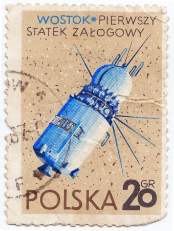 vostok: POLAND - CIRCA 1966: A stamp printed in Poland showing Vostok - russian space station, circa 1966  Editorial