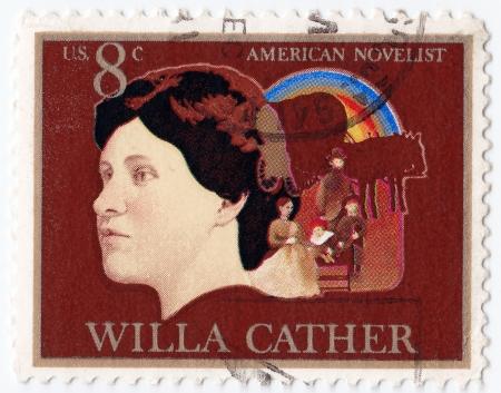 novelist: USA - CIRCA 1970 : stamp printed in USA showing Willa Cather American novelist, circa 1970