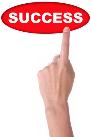 hand with big red button isolated on white Stock Photo - 16393699