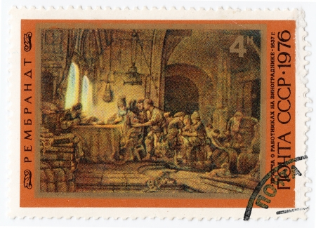 USSR - CIRCA 1976 :  stamp printed in USSR shows pic of artist Rembrandt - Parable about workers on a vineyard, circa 1976  Stock Photo - 16376437