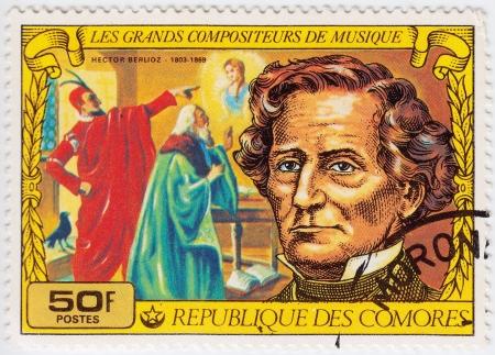 comores: COMORES - CIRCA 1977: Stamp printed in Comores shows Hector Berlioz, French romantic composer, circa 1977