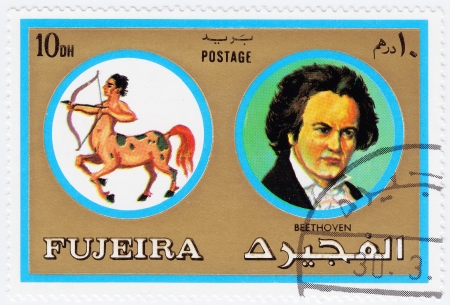 fujeira: FUJEIRA - CIRCA 1971 : stamp printed in Fujeira, Zodiac Signs of Famous People  showscomposer Ludwig van Beethoven and Sagittarius, circa 1971