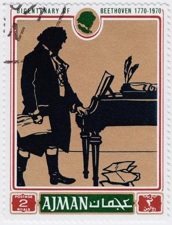 virtuoso: AJMAN - CIRCA 1970 : stamp printed in Ajman shows a portrait of Ludwig van Beethoven,  circa 1970