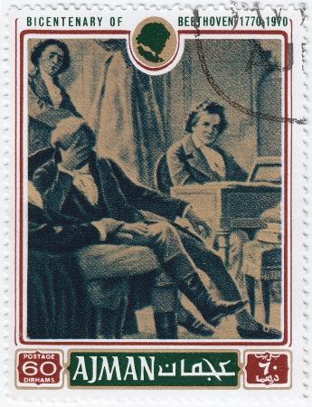 AJMAN - CIRCA 1970 : stamp printed in Ajman shows a portrait of Ludwig van Beethoven,  circa 1970