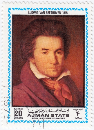 AJMAN - CIRCA 1972 : stamp printed in Ajman shows a portrait of Ludwig van Beethoven,  circa 1972 Stock Photo - 16376459