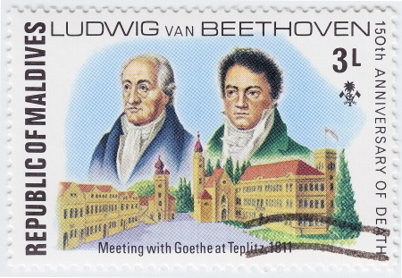 beethoven: MALDIVES - CIRCA 1977 : stamp printed in Maldives shows Ludwig van Beethoven meeting with Johann Wolfgang von Goethe at Teplitz in 1811 year, circa 1977