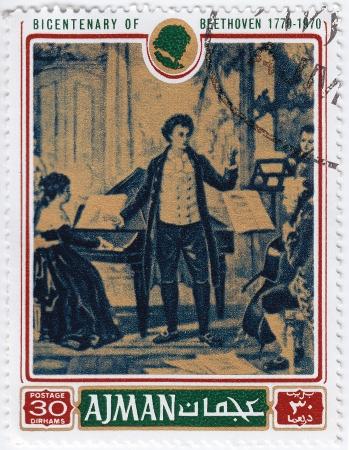 AJMAN - CIRCA 1970 : stamp printed in Ajman shows a portrait of Ludwig van Beethoven,  circa 1970 Stock Photo - 16376460
