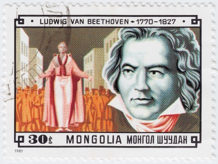MONGOLIA - CIRCA 1981 : stamp printed in Mongolia shows famous composer Ludwig van Beethoven, circa 1981 Stock Photo - 16376461