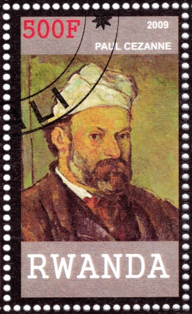 RWANDA - CIRCA 2009: stamp printed in Rwanda shows Paul Cezanne - great French artist and Post-Impressionist painter, circa 2009