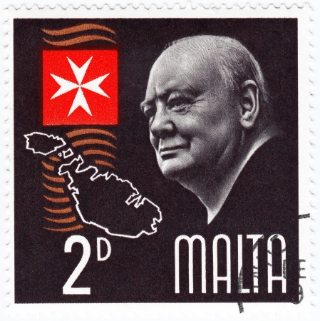 MALTA - CIRCA 1990  Stamp printed in Malta shows Winston Churchill great prime minister in UK, circa 1990