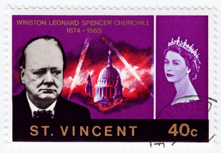 minister of war: ST  VINCENT - CIRCA 1990   Stamp printed in St  Vincent shows Winston Churchill  L  great prime minister in UK and queen Elizabeth, circa 1990