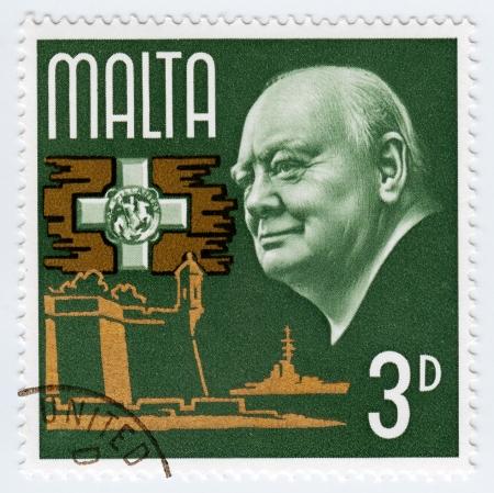 minister of war: MALTA - CIRCA 1990  stamp printed in Malta shows great prime minister in UK, circa 1990