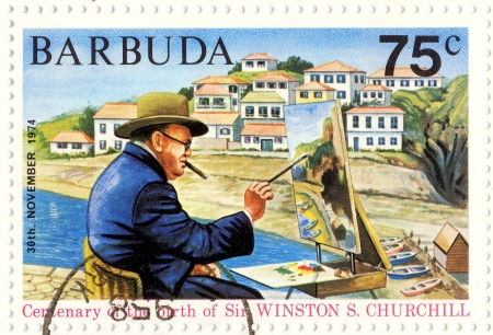 politic: BARBUDA - CIRCA 1974   great UK politic Winston Churchill painting picture