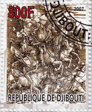 durer: GIBUTI - CIRCA 2007 timbro stampato in spettacoli Djibiouti pic di Albert Durer - Quattro cavalieri, circa 2007