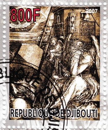 durer: GIBUTI - CIRCA 2007 timbro stampato in spettacoli Djibiouti pic di Albert Durer - Melancholia, circa 2007 Editoriali