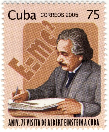 physicist: CUBA stamp with famous physicist of Albert Einstein