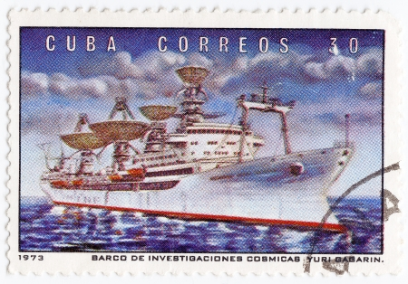 yuri: CUBA - CIRCA 1973   stamp printed in Cuba shows the soviet exploration space ship Yuri Gagarin, circa 1973