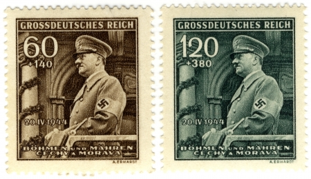 protectorate: vintage stamp 1944 year, 3rd Reich , Bohemia and Moravya - protectorate of Germany, with portrait of Hitler