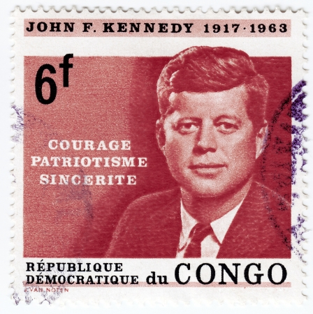 CONGO - CIRCA 1963   Stamp printed in Congo shows 35th president of USA - John Fitzgerald Kennedy, circa 1963  Stock Photo - 16376393