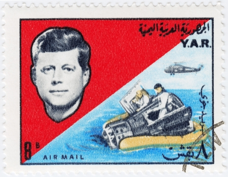 YAR - CIRCA 1970: Stamp printed in YAR shows John F Kennedy , circa 1970