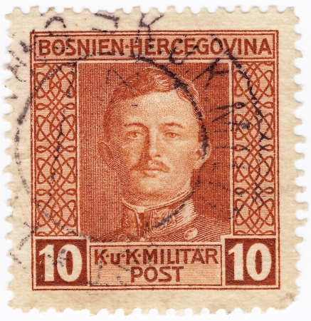 BOSNIA AND HERZEHOVINA - CIRCA 1917: stamp printed in Bosnia and Herzegovina Austria occupation, Charles I last ruler Austro-Hungarian Empire and last monarch House Habsburg-Lorraine, circa 1917