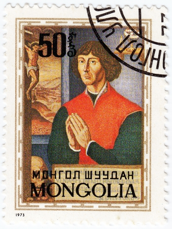 copernicus: MONGOLIA - CIRCA 1973 : stamp printed in Mongolia showing Nicolaus Copernicus - great astronomer, circa 1973