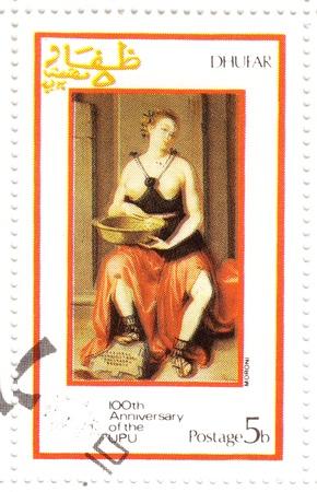DHUFAR - CIRCA 1974: stamp printed in Dhufar shows pic to painter Moroni of 100th Anniversary OF UPU ( Universal Postal Union ), circa 1974