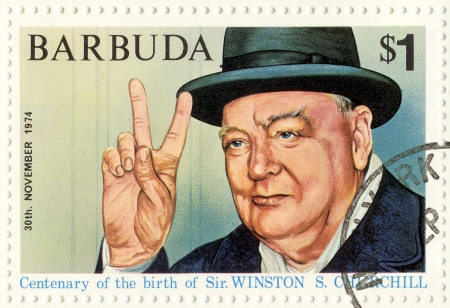 churchill: vintage stamp with Winston Churchill