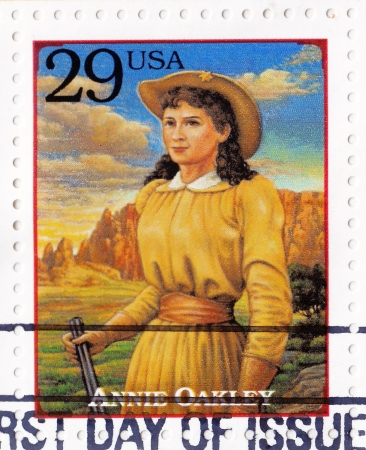 USA - CIRCA 1994 : Stamp printed in USA - Annie Oakley american sharpshooter and exhibition shooter in old west , circa 1994 Stock Photo - 16425165