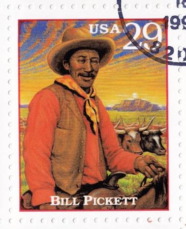 show bill: EE.UU. - alrededor de 1994: Sello impreso en los EE.UU. el programa de Bill Pickett - prominente l�der ind�gena y medicina del hombre de los Apaches Chiricahua, alrededor de 1994