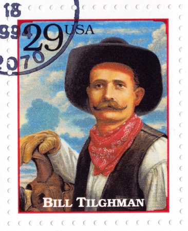 lawman: USA - CIRCA 1994 : Stamp printed in the USA shows William Matthew Bill Tilghman - lawman and gunslinger in the American Old West, circa 1994  Editorial