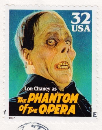 lon: USA - CIRCA 1997 - Stamp printed in USA showing Lon Chaney as the Phantom of the Opera, circa 1997