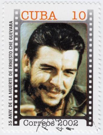 CUBA - CIRCA 2002: Stamp printed in Cuba, anniversary of the death of Che Guevara in Bolivia, Circa 2002