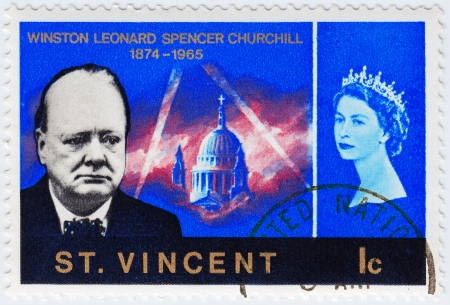 ST. VINCENT - CIRCA 1990 : stamp printed in St. Vincent shows Winston Churchill (L) great prime minister in UK and queen Elizabeth, circa 1990 Editorial