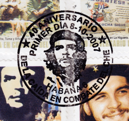 philately: CUBA - CIRCA 2007 - Stamp at philately printed in Cuba, anniversary of the death of legendary Che Guevara in Bolivia, Circa 2007