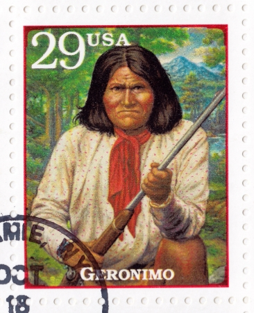 prominent: USA - CIRCA 1994 : Stamp printed in USA show Geronimo  - prominent Native American leader and medicine man of the Chiricahua Apache, circa 1994 Editorial