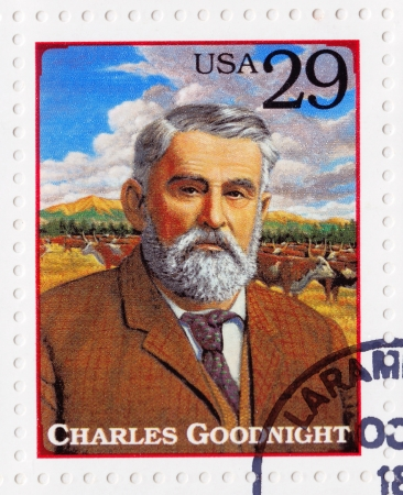 USA - CIRCA 1994 : Stamp printed in the USA shows Charles Goodnight cattle rancher in the American Old West, circa 1994
