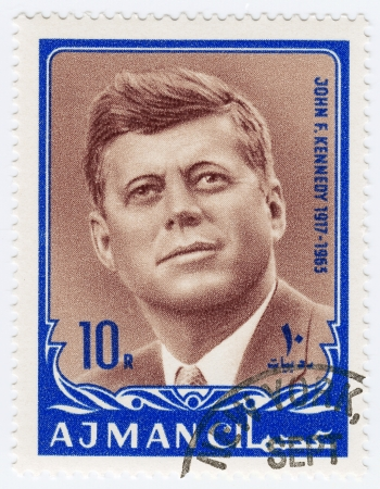 AJMAN - CIRCA 1970 : Stamp printed in Ajman shows John F Kennedy, circa 1970