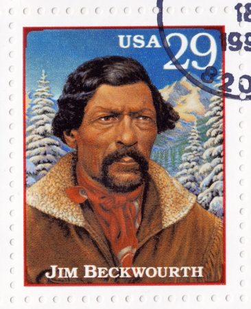 USA - CIRCA 1994 : Stamp printed in the USA shows Jim Beckwourth mountain man, fur trader, and explorer in the American Old West, circa 1994 Stock Photo - 16425176