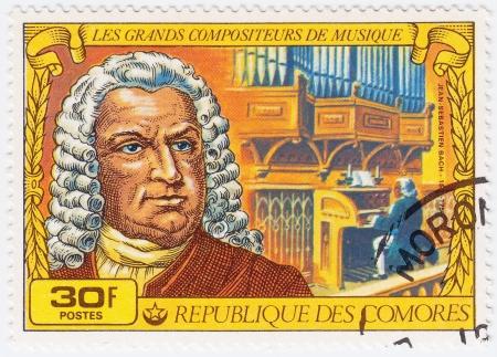comores: COMORES - CIRCA 1977: Stamp printed in Comores shows Johann Sebastian Bach great composer, circa 1977