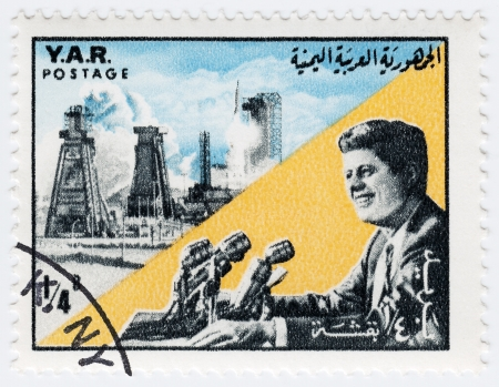 YAR - CIRCA 1970 : Stamp printed in YAR shows John F Kennedy , circa 1970