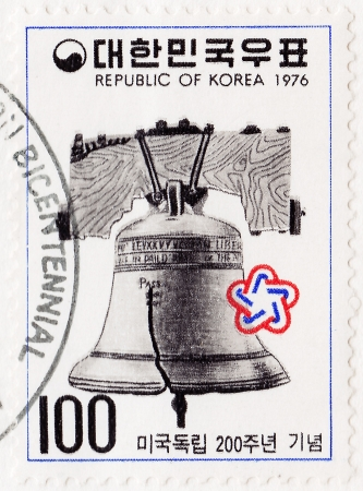 KOREA- CIRCA 1976: Stamp printed in Korea with Philadelphia Liberty Bell, American revolution bicentennial , circa 1976