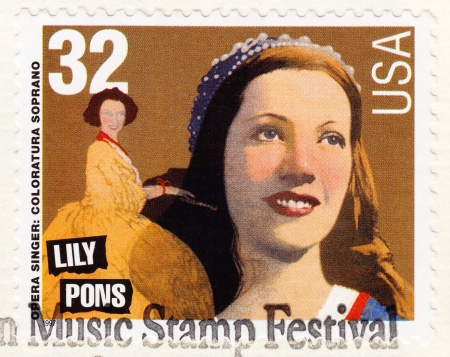 american music: USA - CIRCA 1997: Stamp printed in USA , American Music Stamp Festival, showing portrait of American singer Lily Pons - operatic soprano, circa 1997 Editorial