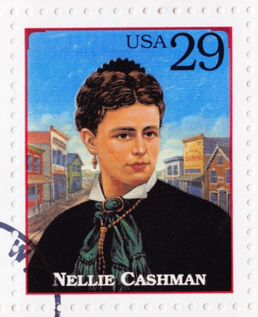 prospector: USA - CIRCA 1994 : Stamp printed in USA show Nellie Cashman (also Ellen ) , was a native of County Cork, Ireland, who became famous across the American and Canadian west as a nurse and gold prospector, circa 1994