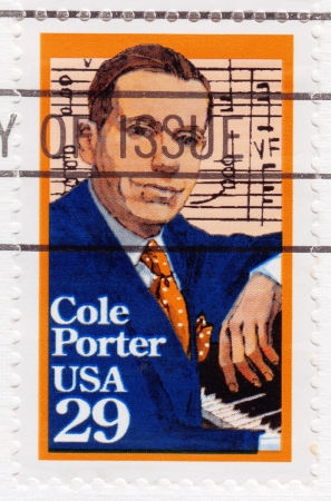 incurable: USA - CIRCA 1991: Stamp printed in USA shows Cole Porter- famous lyrical wit and incurable romantic, dominant force in American music, circa 1991 Editorial