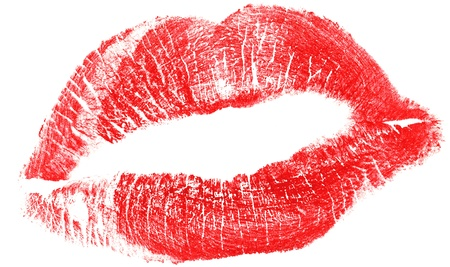 lovely red woman lips isolated on white Stock Photo